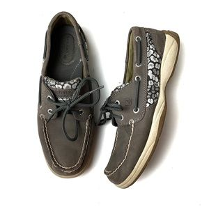 SPERRY Gray Leopard Silver Sparkle Shoes Loafers 8
